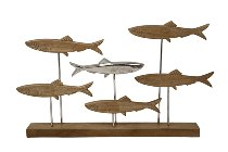 Metallskulptur Fischschwarm
