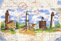 Tischset Leuchtturm Seekarte